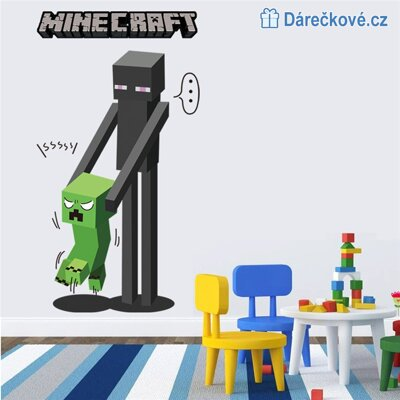 3D samolepka Minecraft, Creeper a Enderman, 70x50 cm