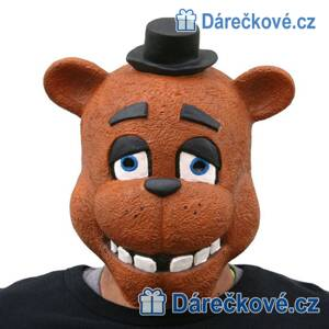 Latexová maska Medvěd Freddy ze hry Five Nights at Freddy's (karnevalový kostým)